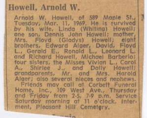 Arnold Howell, Obituary, Death Date March 11, 1969